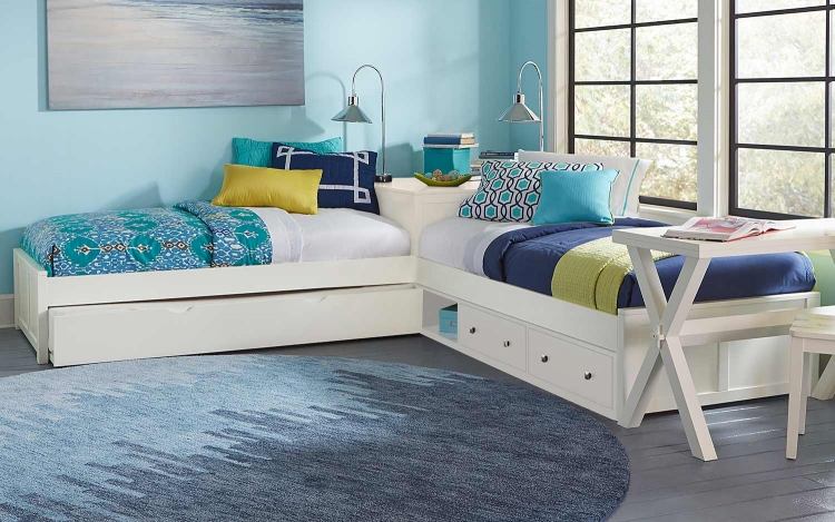 Pulse L-Shaped Bed With Storage and Trundle - White