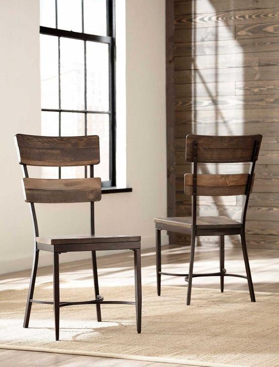 Jennings Dining Chair - Walnut Wood/Brown Metal
