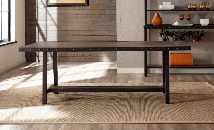 Jennings Rectangle Dining Table - Walnut Wood/Brown Metal