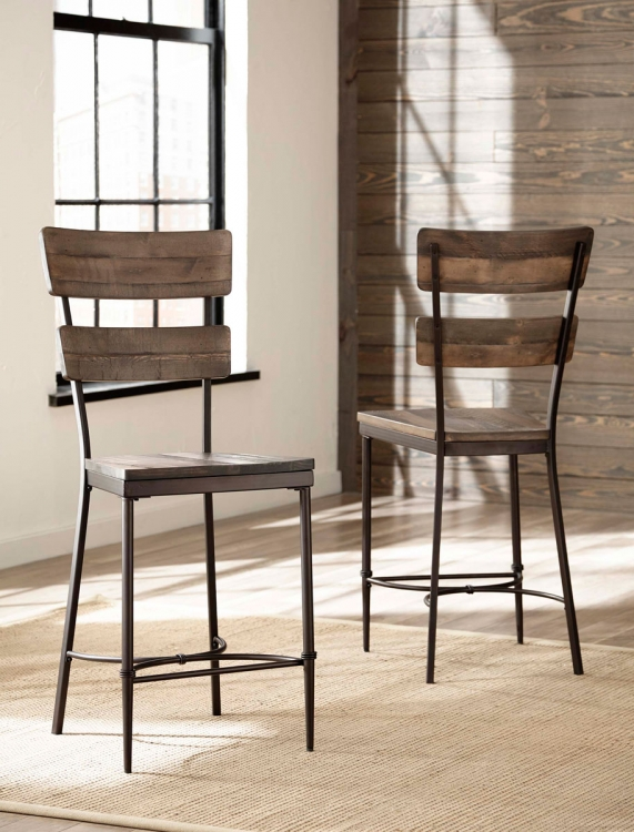 Jennings Non-Swivel Counter Stool -Walnut Wood/Brown Metal