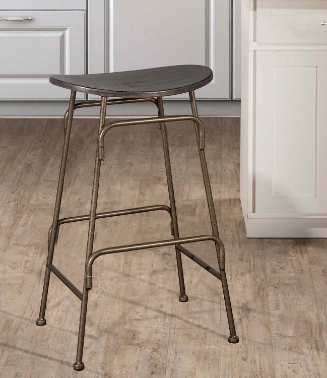 Mitchell Non-Swivel Backless Bar Stool - Black Wood/Old Bronze Metal