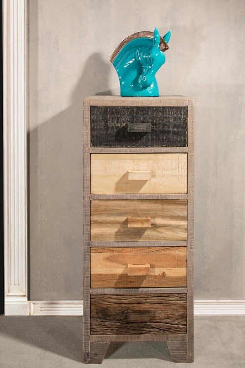Bolero Five Drawer Cabinet - Sand Brushed Earth Tone