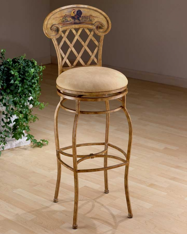 Rooster Metal Swivel Bar Stool