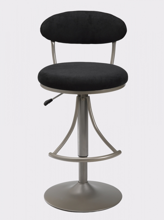 Venus Metal Swivel Bar Stool with Black Suede