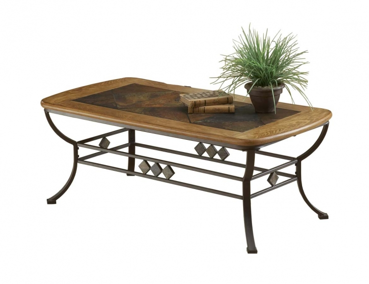 Lakeview Cocktail Table With Wood and Slate Top
