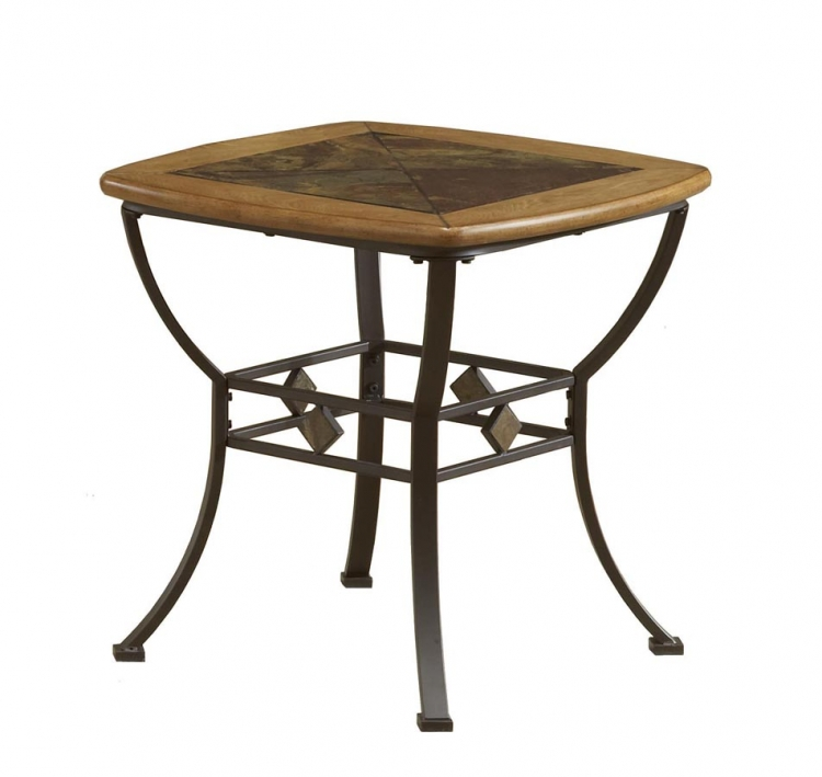 Lakeview End Table With Wood and Slate Top