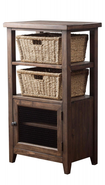 Tuscan Retreat Basket Stand with and 2-Baskets - Mocha
