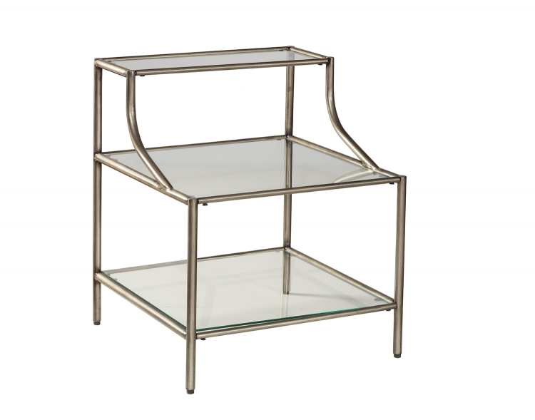 Corbin Step Table with 3-Shelves - Silver/Black