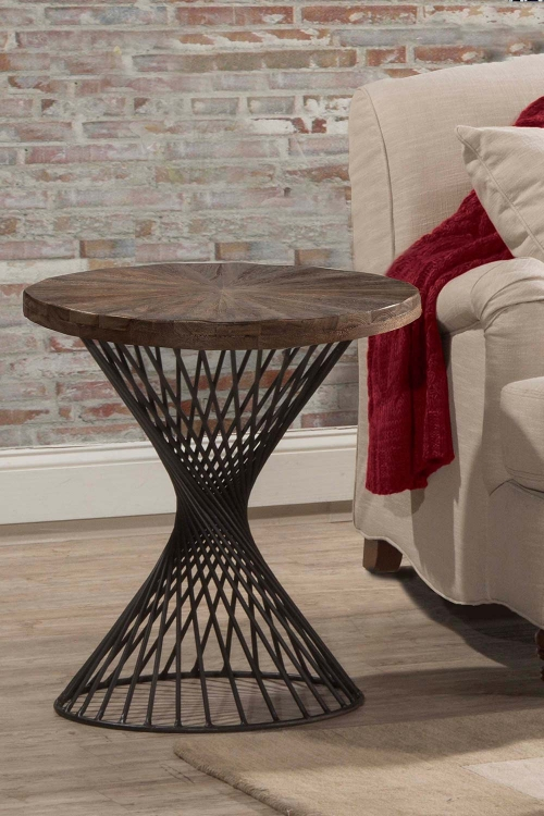 Kanister Round End Table - Walnut/Dark Pewter