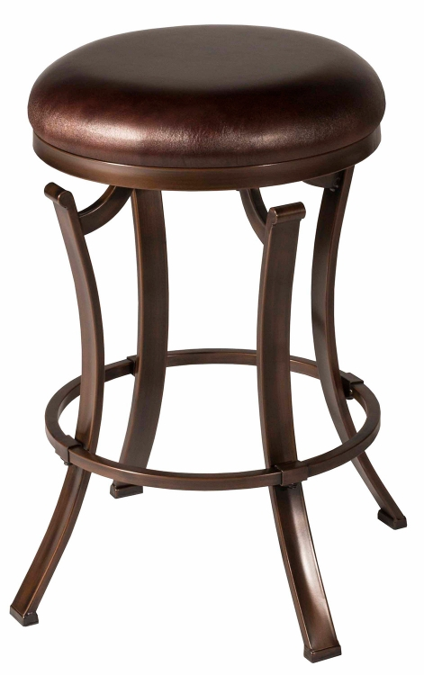 Kelford Swivel Backless Bar Stool - Black - Cocoa Fabric