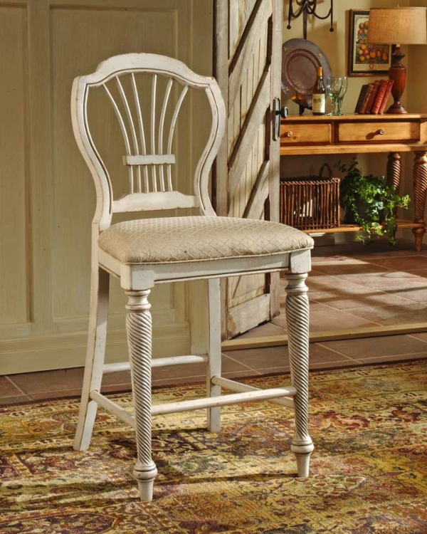 Wilshire Non-swivel Counter Stool - Antique White