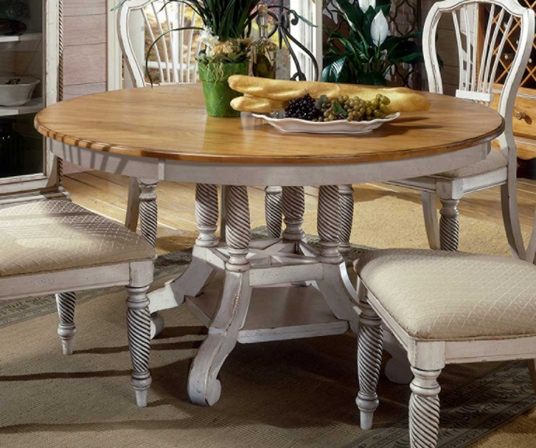 Wilshire Round Oval Dining Table   Antique White