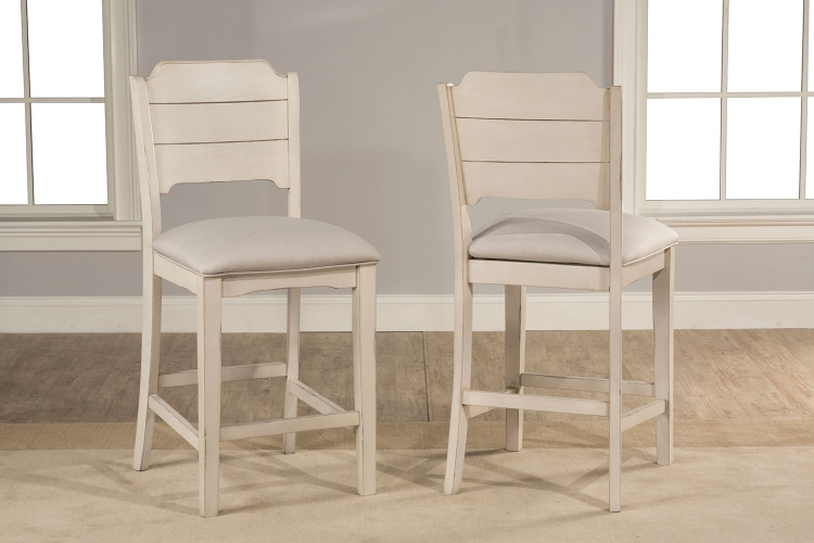 Clarion Non-Swivel Open Back Counter Height Stool - Sea White - Fog Fabric