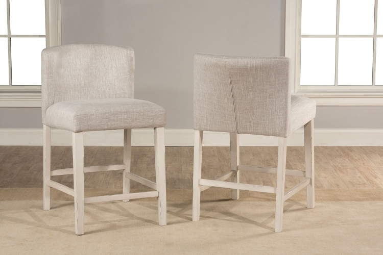 Clarion Non-Swivel Wing Arm Counter Height Stool - Sea White - Fog Fabric