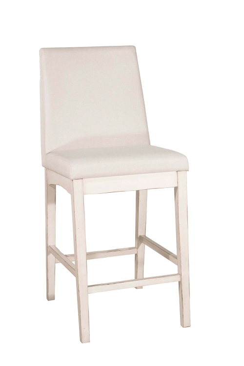 Clarion Non-Swivel Counter Height Stool - Sea White - Fog Fabric