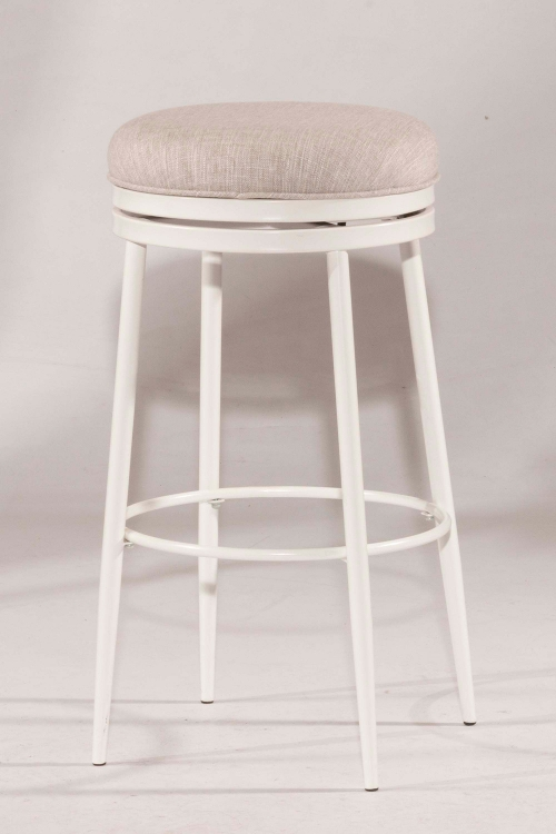 Aubrie Swivel Backless Counter Stool - White - Silver Fabric