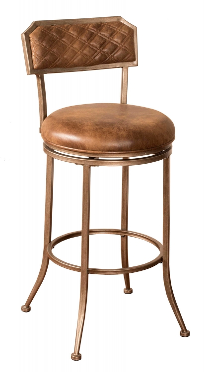 Grant Swivel Bar Stool - Bronze Pewter - Walnut Faux Leather