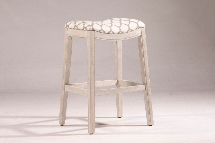 Sorella Non-Swivel Bar Stool - White - Trellis Ash Fabric