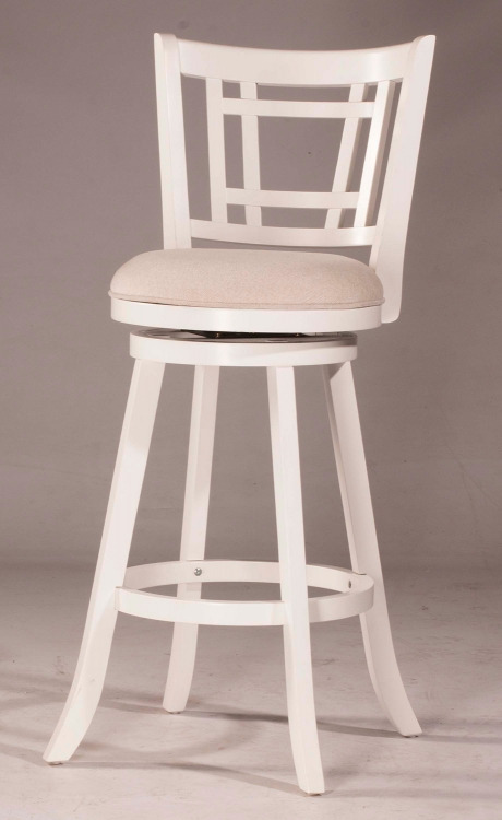 Fairfox Swivel Bar Stool - White - Ecru Fabric