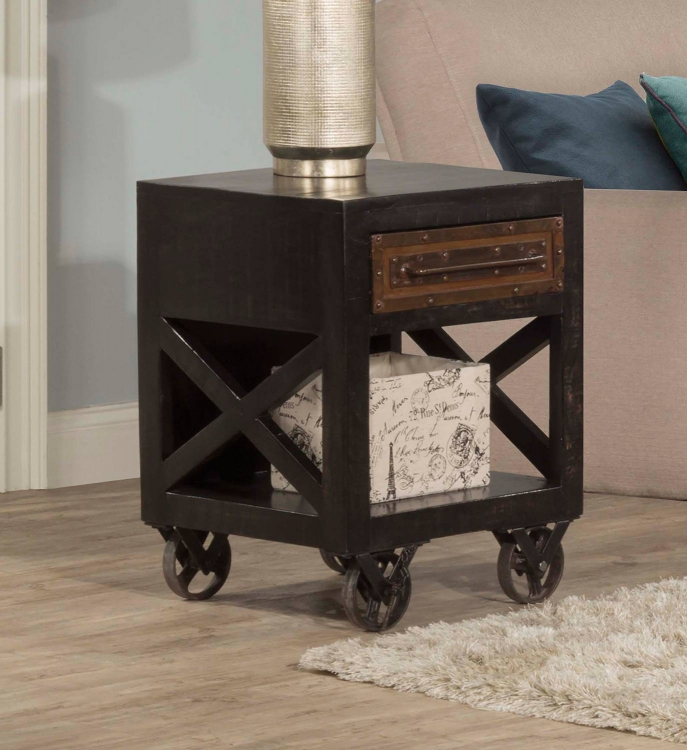 Bridgewater End Table with Casters - Rubbed Black