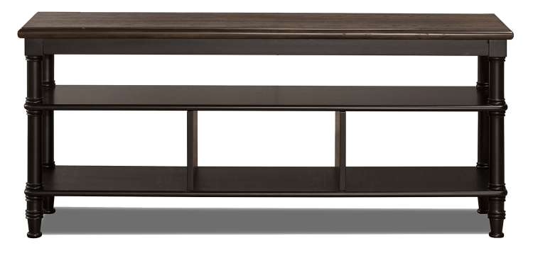 Seneca Storage Console - Waxed Black/Walnut