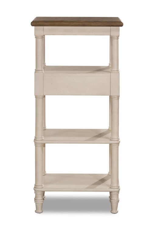 Seneca Tall Basket Stand with Middle Drawer - Driftwood/Sea White