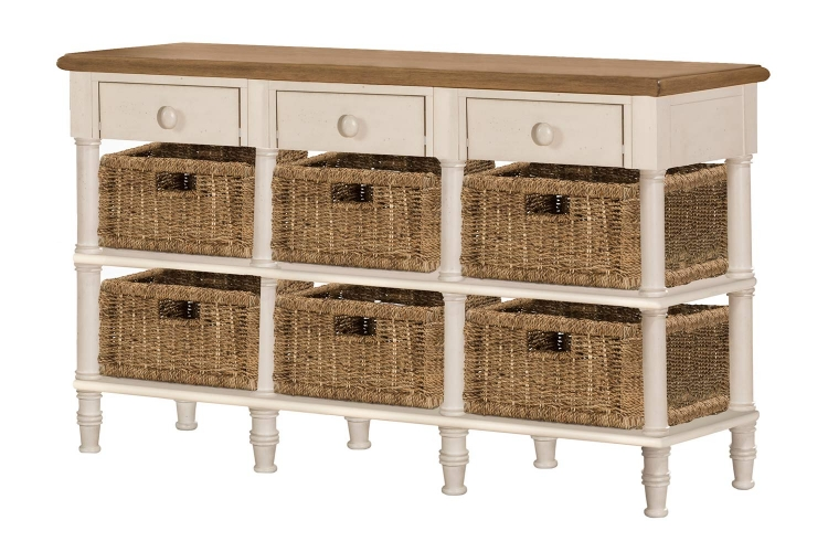 Seneca 3-Drawers Sofa Table with 6 Baskets - Driftwood/Sea White/Natural Seagrass