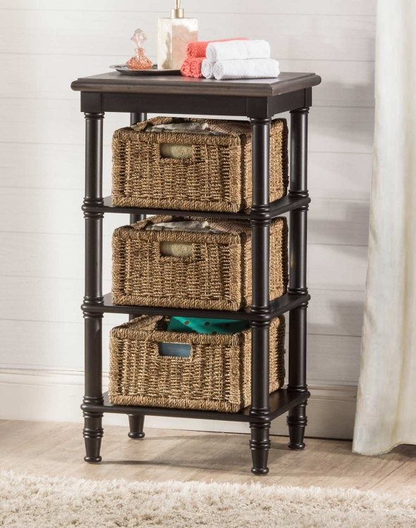Seneca Basket Stand with 3 Baskets - Waxed Black/Walnut/Natural Seagrass