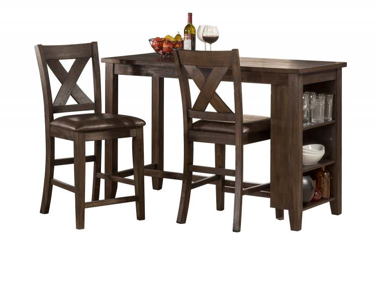 Spencer 3 Piece Counter Height Dining Set with X-Back Counter Height Stools - Dark Espresso
