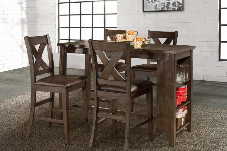 Spencer 5 Piece Counter Height Dining Set with X-Back Counter Height Stools - Dark Espresso