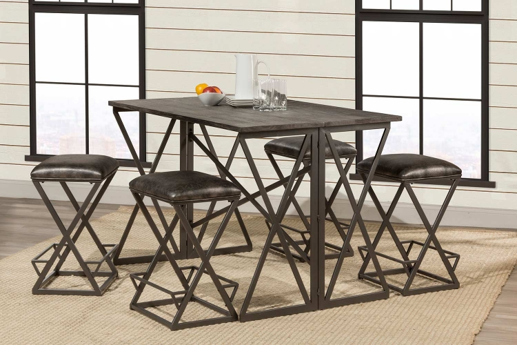 East Glenn 5-Piece Counter Height Dining Set with 4 Kenwell Stools - Charcoal