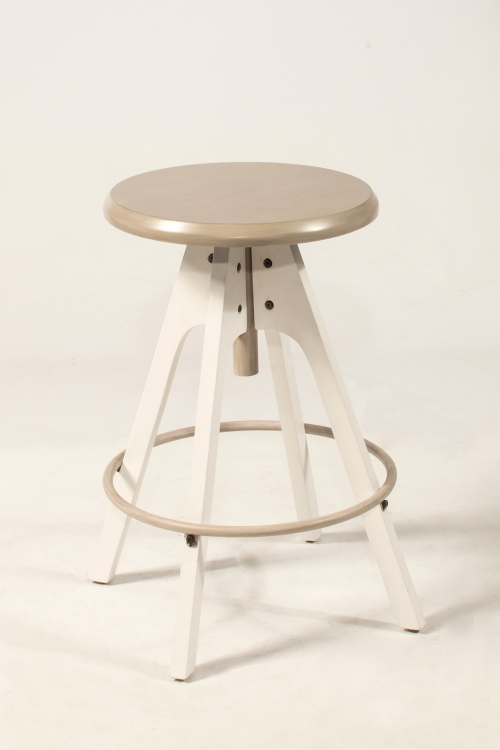 Telford Adjustable Backless Swivel Stool - White Base/Taupe Wood