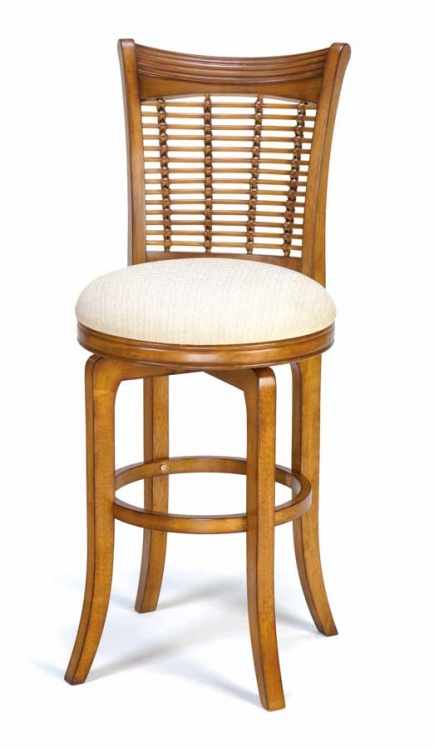 Bayberry Wicker Swivel Wood Bar Stool - Oak