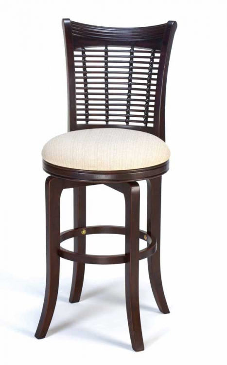Bayberry Wicker Swivel Wood Bar Stool - Dark Cherry