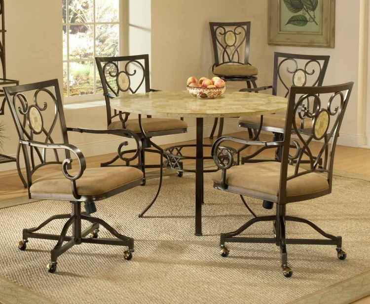 Brookside Round Dining Collection - Oval Caster Chair