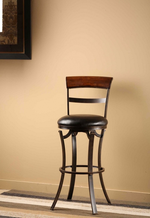 Kennedy Swivel Bar Stool with Cherry Finished Panel Top - Black/Gold