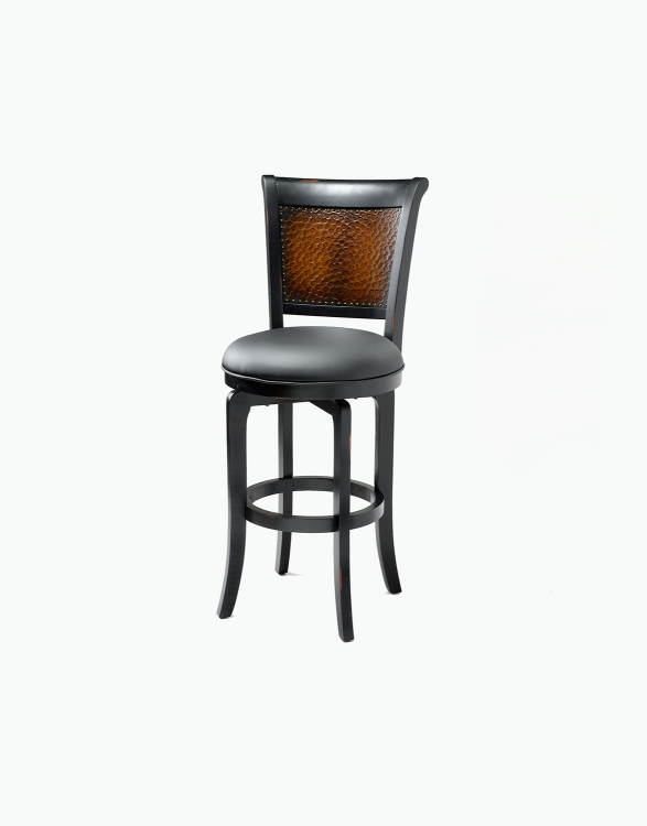 Salerno Swivel Counter Stool - Black with Honey Highlight - Black Vinyl