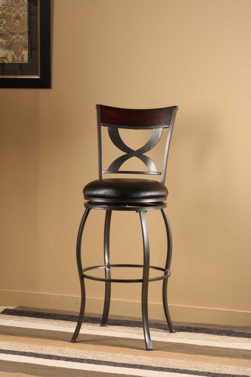 Stockport Swivel Counter Stool with Distressed Cherry Wood Panel - Pewter