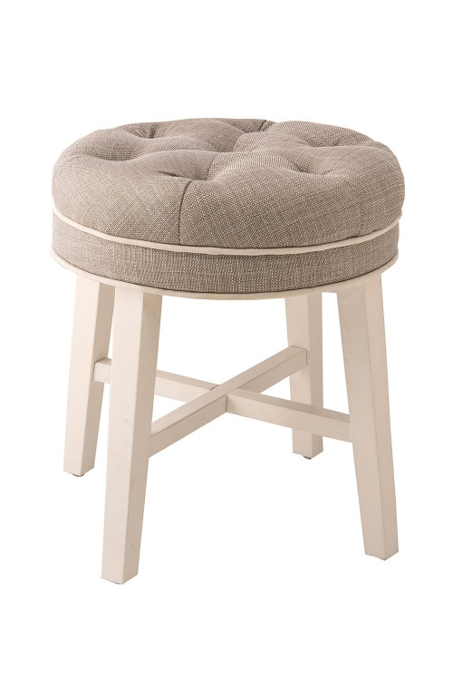 Sophia Vanity Stool with Linen Gray Fabric - White