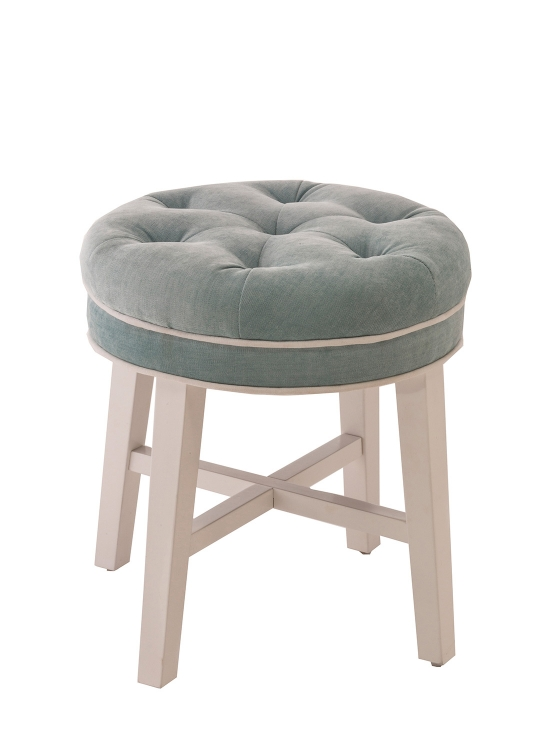 Sophia Vanity Stool with Spa Fabric - White