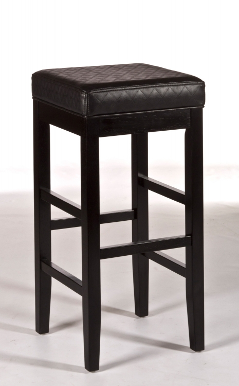Hammond Non-Swivel Backless Bar Stool - Black Vinyl