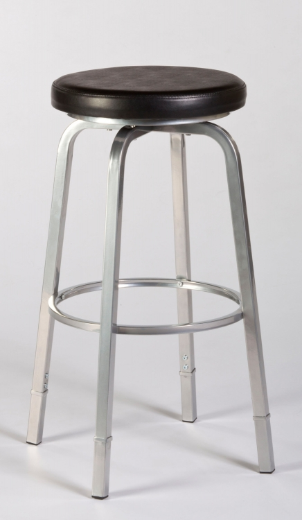 Neeman Backless Counter/Bar Stool with Nested Leg - Black Vinyl/Silver