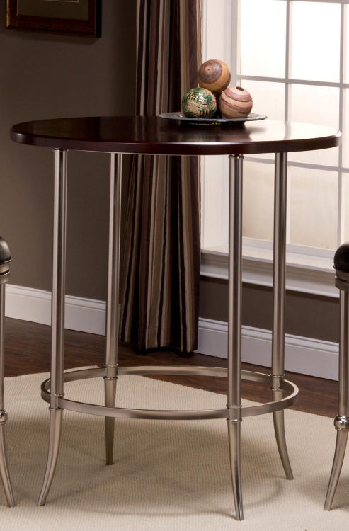 Maddox Bar Height Bistro Table - Espresso/Dull Nickel
