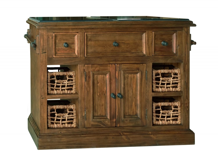 Tuscan Retreat Large Granite Top Kitchen Island with 2 Baskets - Oxford