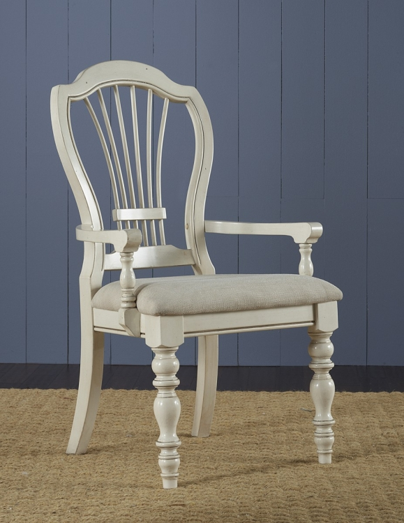 Pine Island Wheat Back Arm Chair - Old White - Ivory