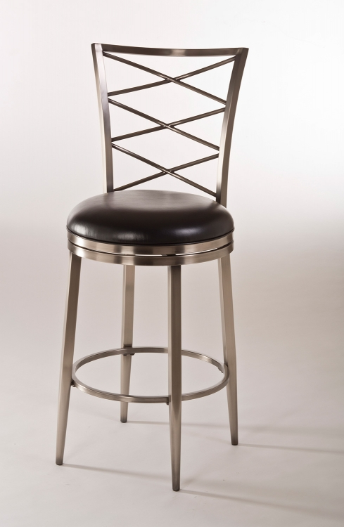 Harlow Swivel Bar Stool - Antique Pewter/Black Vinyl