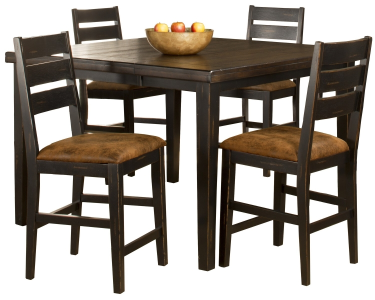 Killarney 5-Piece Counter Height Dining with Ladder Back Stools - Black/ Antique Brown