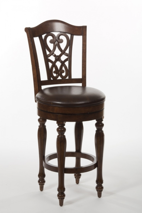 Hamilton Park Swivel Bar Stool with Scroll Back - Brown PU