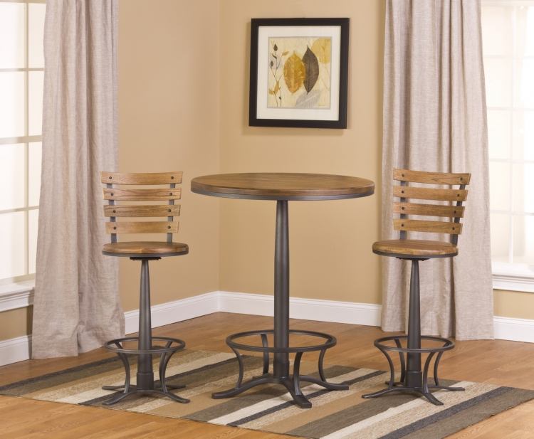 Westview Bar Height Bistro with Westview Stools - Steel Gray/ Oak/ Black