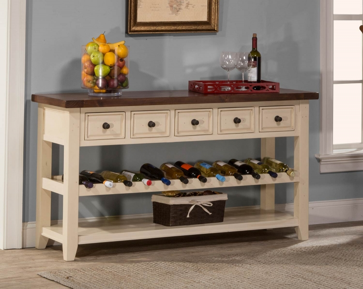 Tuscan Retreat Wine Rack Hall Table with Five Drawers - Country White/Antique Pine Top